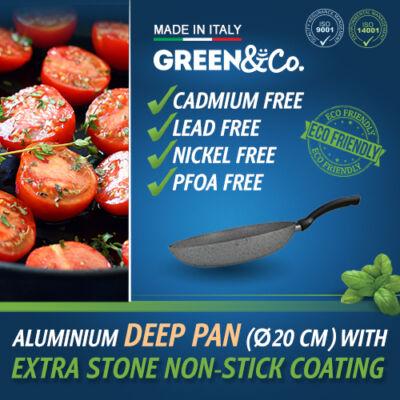 Green&Co. Extra Stone serpenyő mély, 20cm 2,6mm