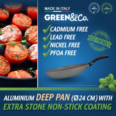 Green&Co. Extra Stone serpenyő mély, 24cm 2,6mm