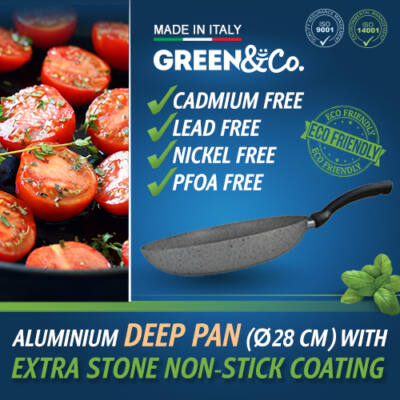 Green&Co. Extra Stone serpenyő mély, 28cm  2,6mm