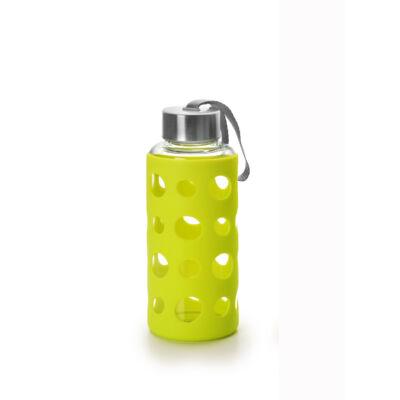 Green&Co trendi üvegkulacs szilikon bevonattal 400 ml lime zöld dot