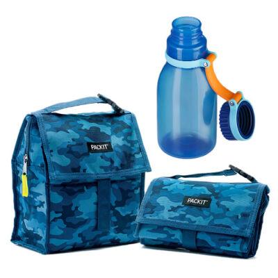 Uzsonnás csomag (kék mintás uzsonnás táska+420 ml-es kék kulacs)