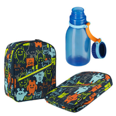 Uzsonnás csomag (szörnyecskés uzsonnás táska+420 ml-es kék kulacs)