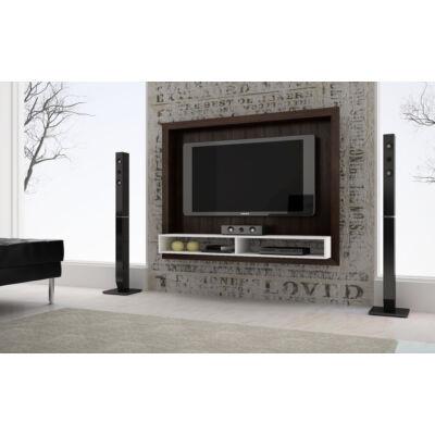 Vista polcos TV panel kerettel (sötétbarna / fehér)