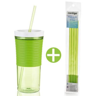 Shake&Go limezöld shaker pohár 550ml + 4 db szívószállal