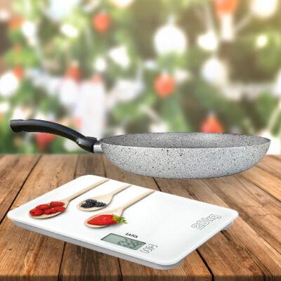 """Laica digitális konyhamérleg """"fehér konyha"""" 20Kg+Green&Co. Extra Stone serpenyő 20cm"""