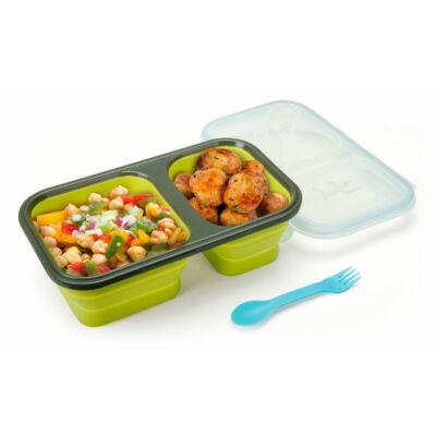 Összenyomható BPA mentes ételtároló doboz osztott rekesszel 750ml