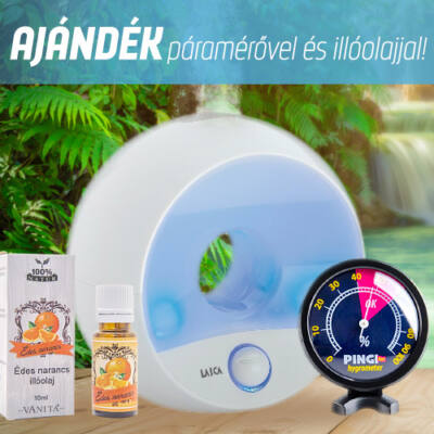 LAICA ultrahangos hidegpárásító és aromaterápiás készülék 2980 Ft értékű ajándékkal
