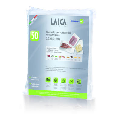 LAICA BPA mentes vákuum zacskó (50db légcsatornás, EXTRA erős 25*30cm-es vákuumtasak vákuumcsomagoláshoz)