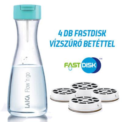LAICA Flow 'n go vízszűrő palack 1 liter, 1+3 db FAST DISK szűrővel