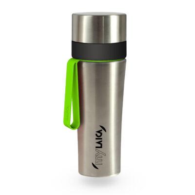 myLAICA vízszűrő kulacs FAST DISK szűrővel, szálcsiszolt rozsdamentes acél, zöld szilikon pánttal, 0,55 liter