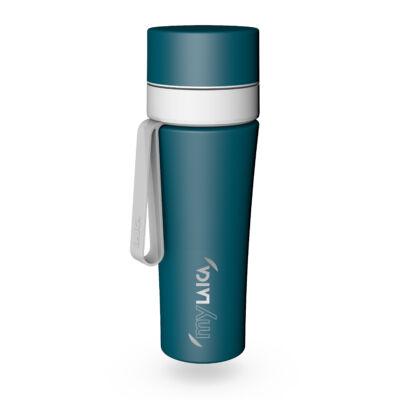 myLAICA vízszűrő kulacs FAST DISK szűrővel, matt zöld színben, rozsdamentes acél, szilikon pánttal, 0,55 liter