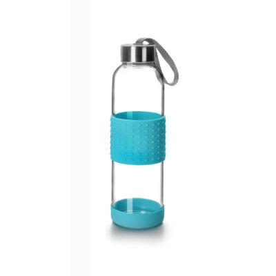 Green&Co trendi üvegkulacs szilikon bevonattal 360 ml azúrkék