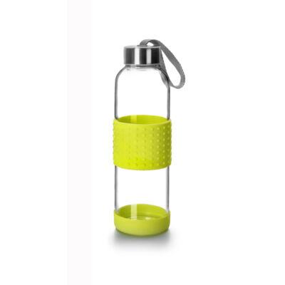 Green&Co trendi üvegkulacs szilikon bevonattal 360 ml lime zöld