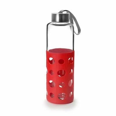 Green&Co trendi üvegkulacs szilikon bevonattal 550 ml piros dot