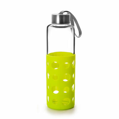 Green&Co trendi üvegkulacs szilikon bevonattal 550 ml lime zöld dot